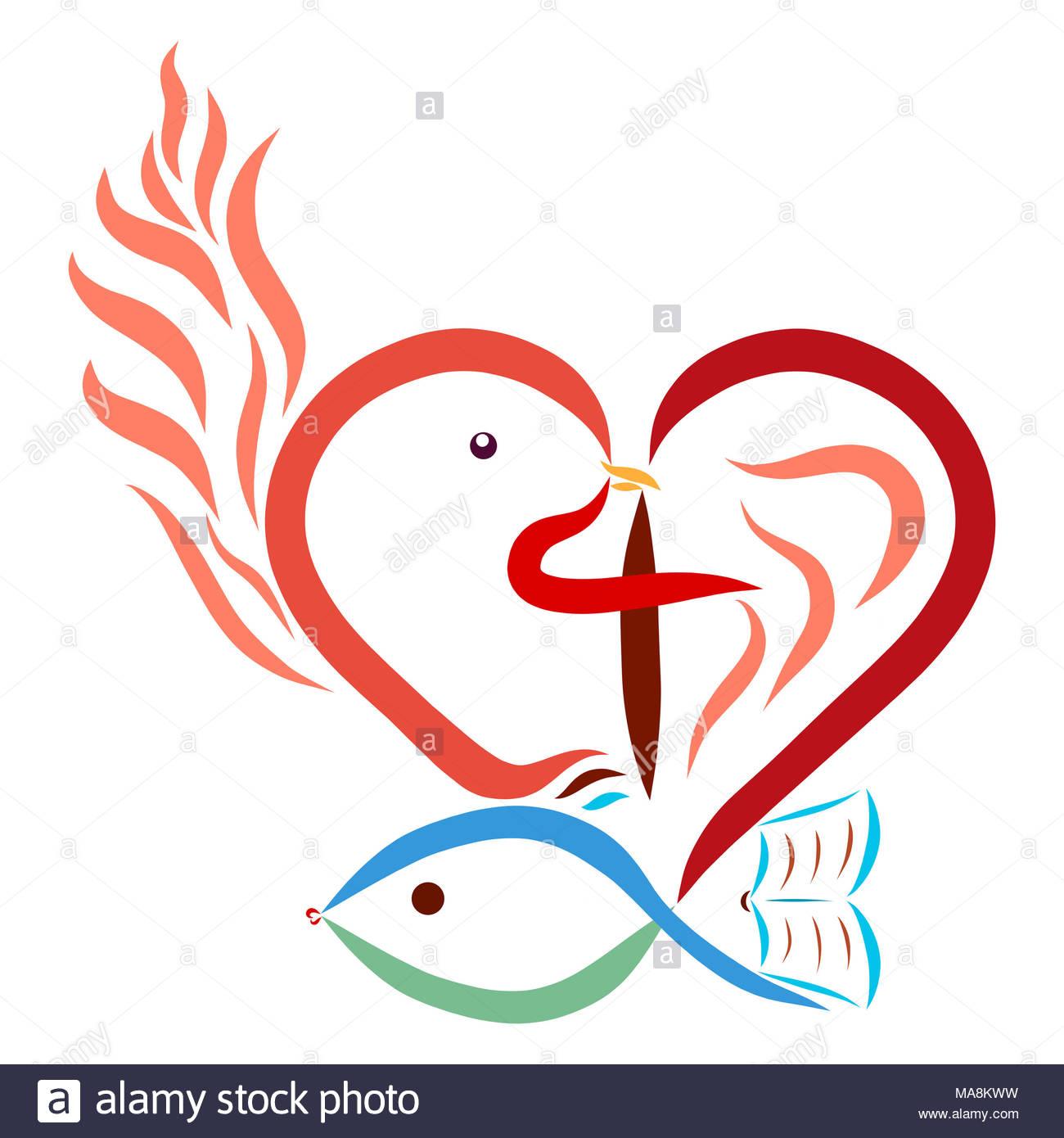 Christian Symbolism Heart Cross Dove Fish Flame Bible Stock