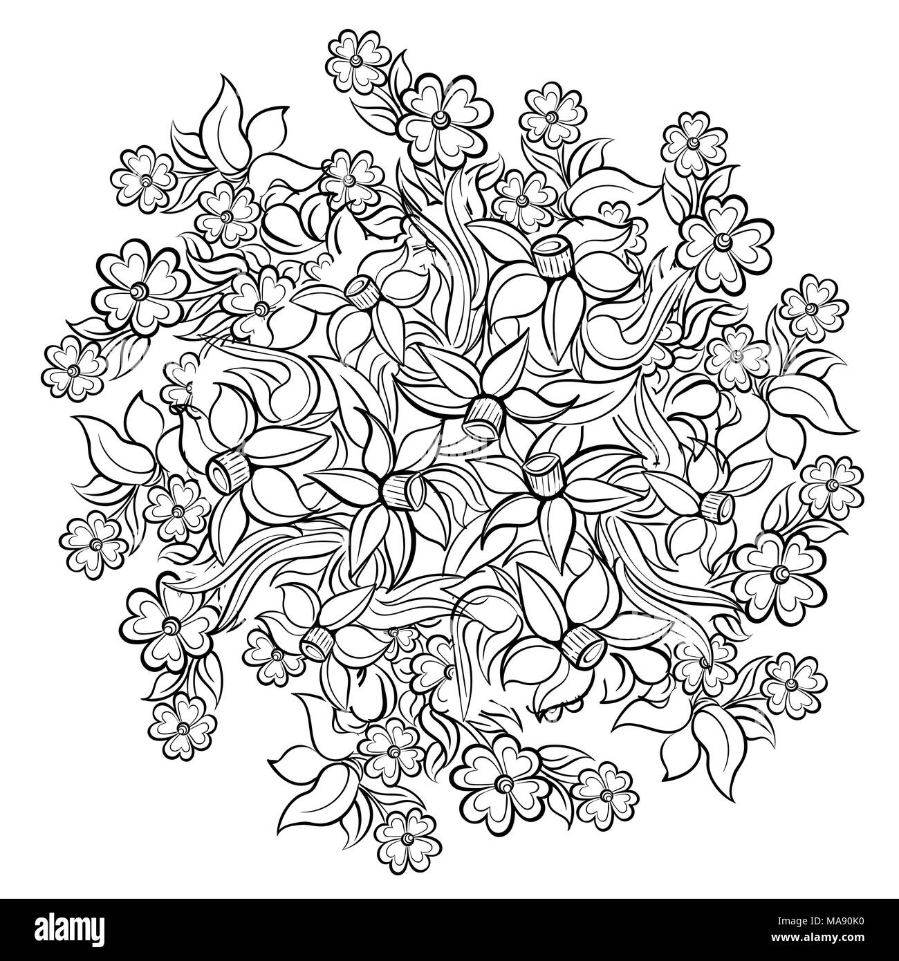 Floral elements and leaves for coloring book. Anti-stress coloring ...