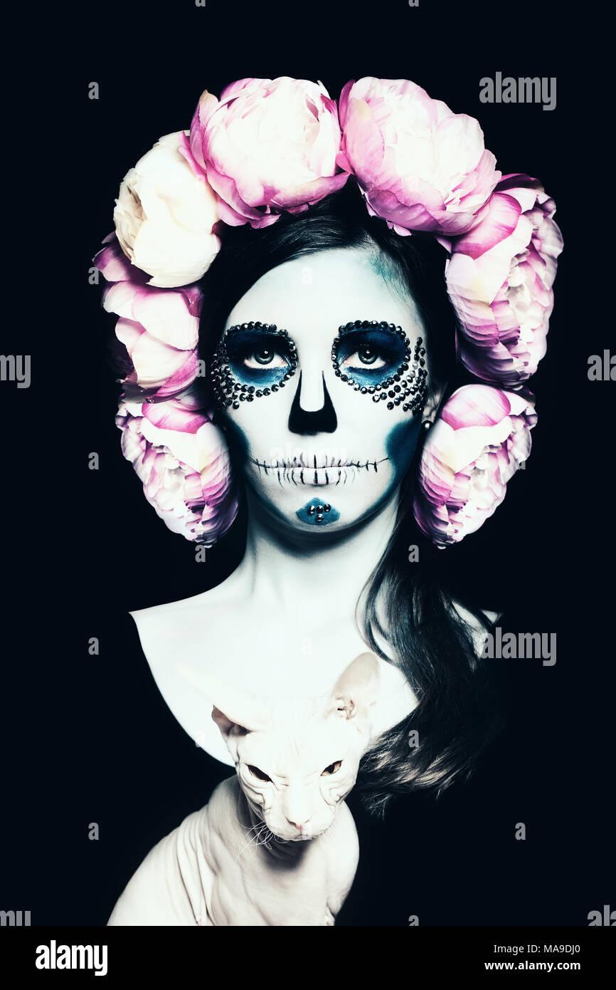 halloween woman with sugar skull makeup