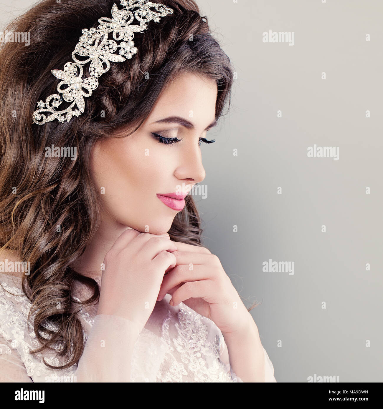 Beautiful Young Bride Stylish Woman Fiancee With Bridal Hairstyle