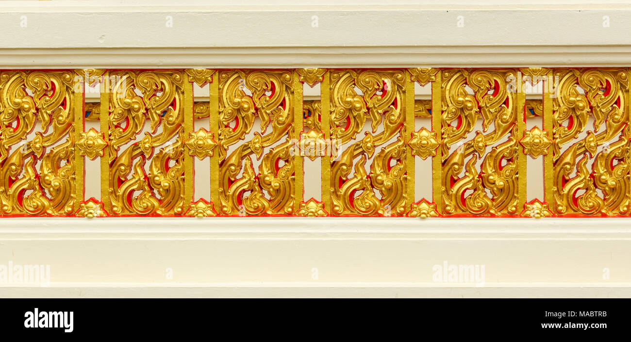 Traditional Thai style pattern decorative temple wall in Thailand ...