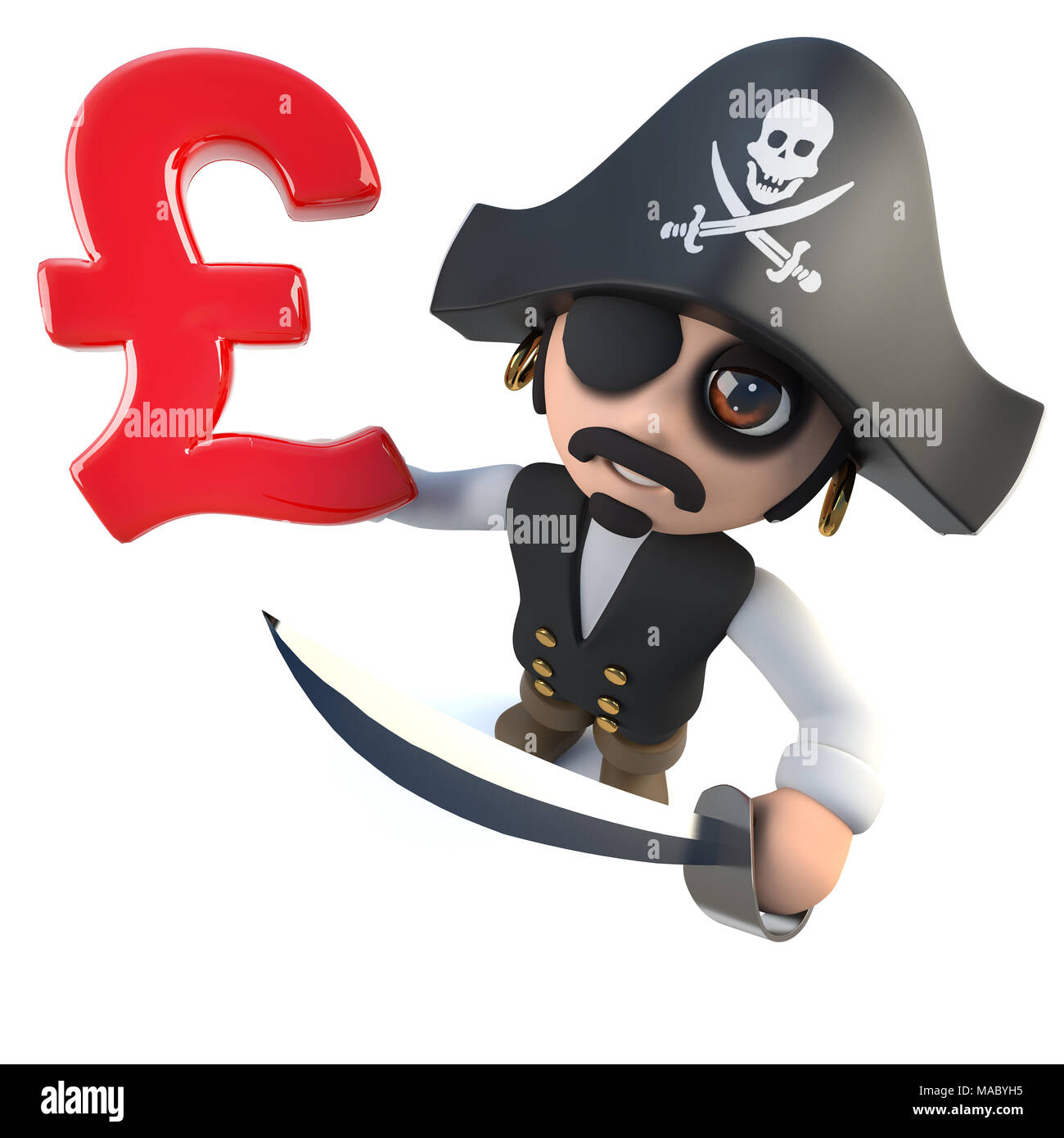 3d Render Of A Funny Cartoon Pirate Captain Holding A Uk Pounds