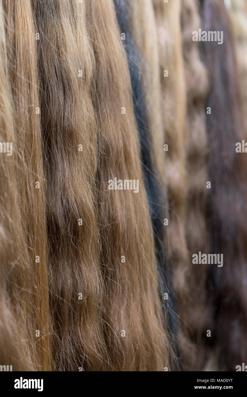 Premium Different Color Clip In Hair Extensions Displayed In Wig