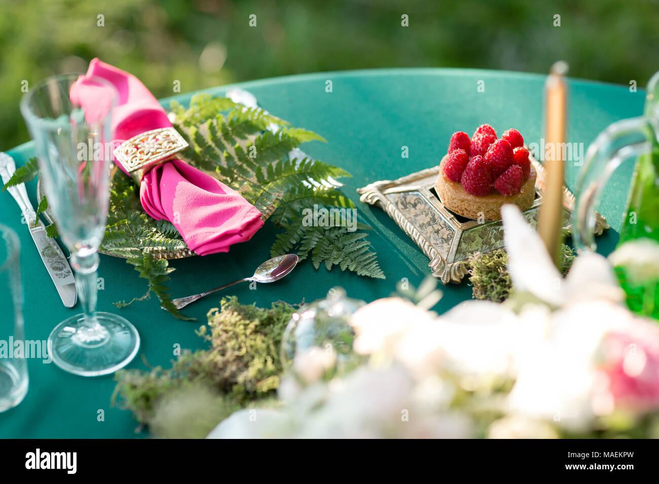 Raspberry Dessert Table Setting Wedding Decor In The Magic Forest