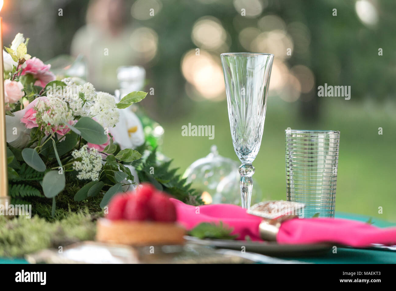 table setting. Wedding decor in the magic forest for a loving couple ...