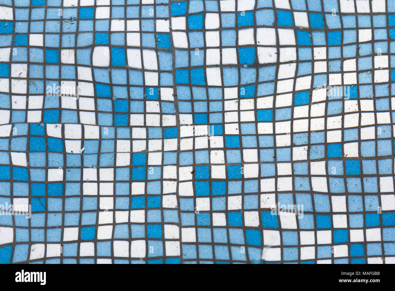 Close up picture of small square blue and white shiny ceramic tiles ...