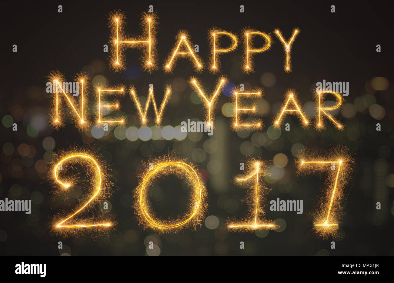 Happy New Year 2017 Written With Sparkle Firework On Black