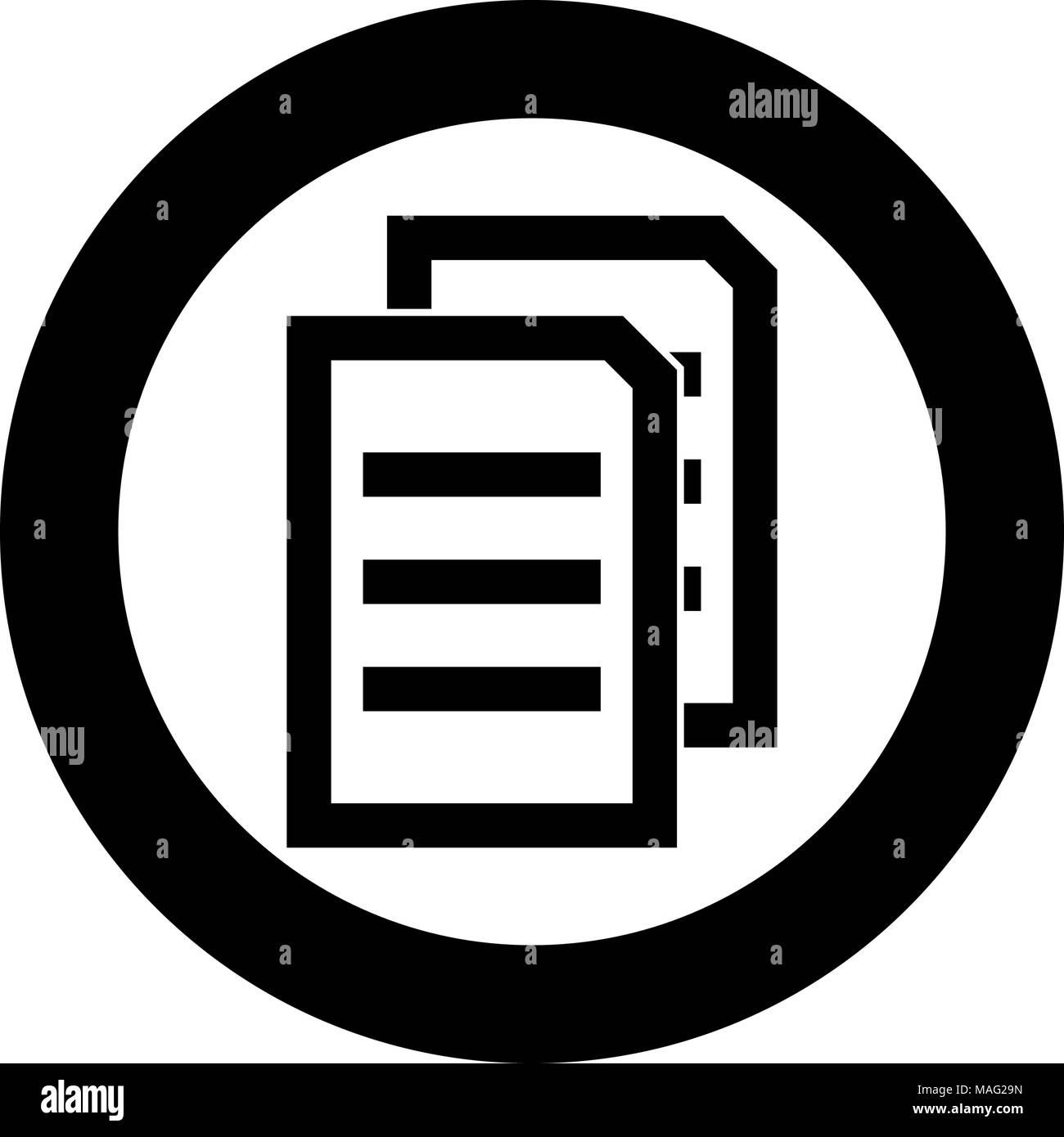 two sheets of document black icon in circle vector illustration isolated