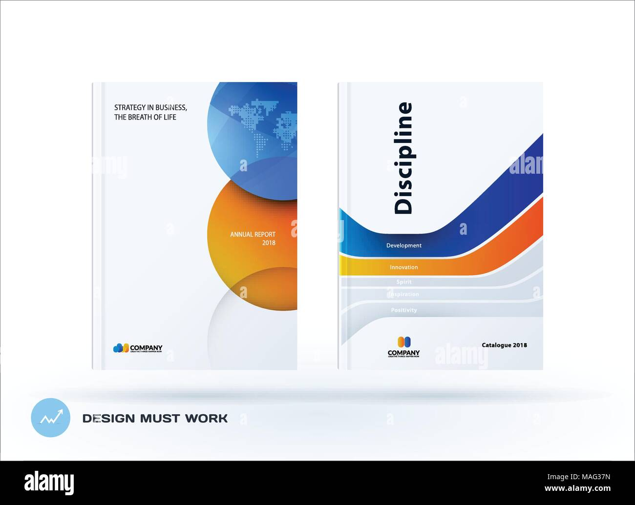 creative design of orange blue business brochure set abstract horizontal cover layout flyer in a4 with colourful circles rounds