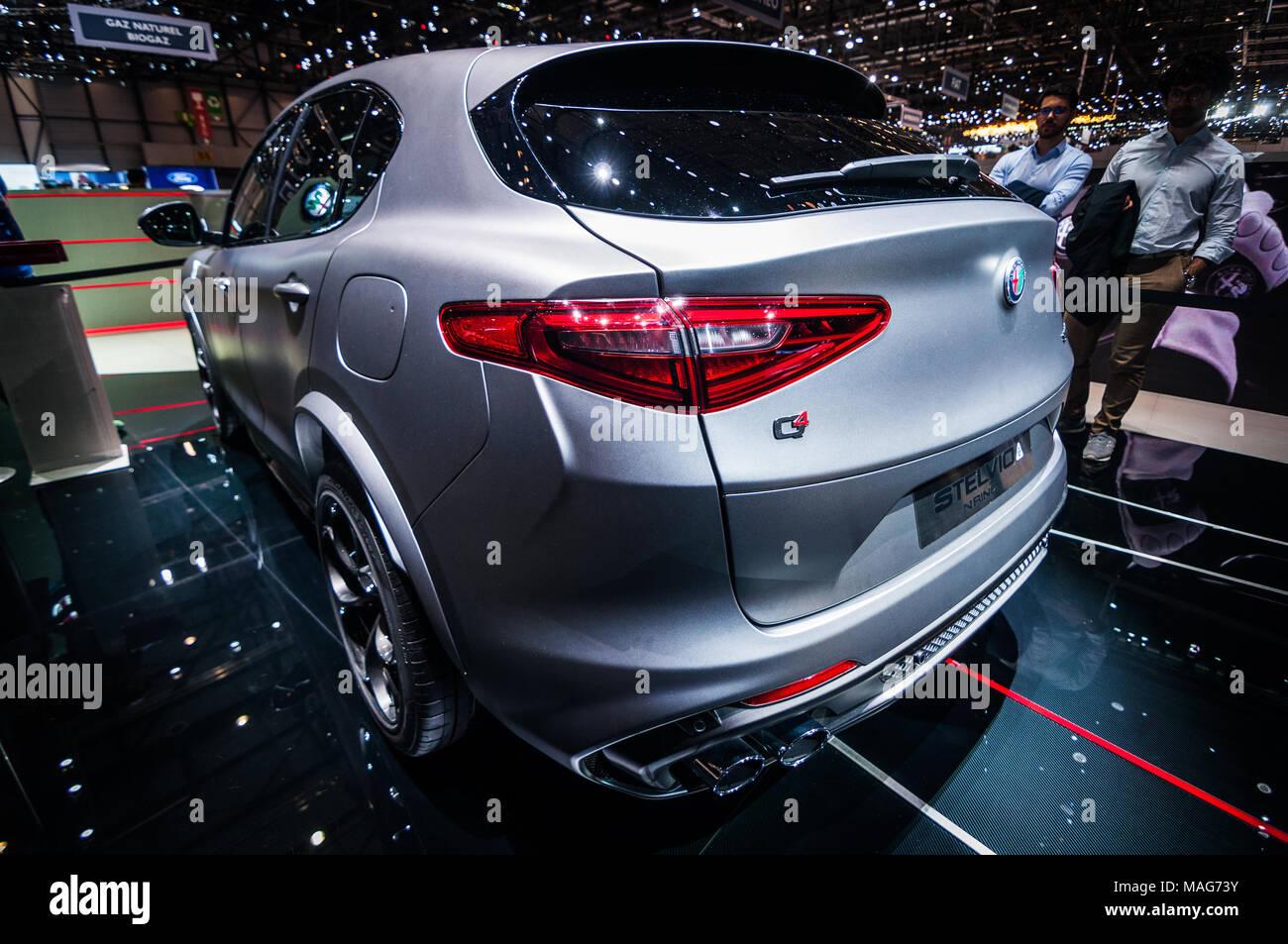 Geneva Switzerland March 17 2018 Alfa Romeo Stelvio Q4
