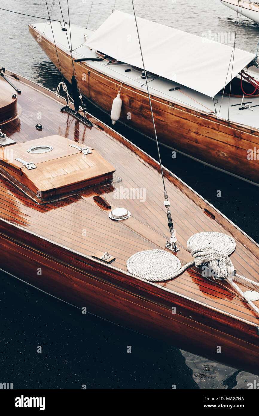 Beautiful classic wooden boat at the sea port