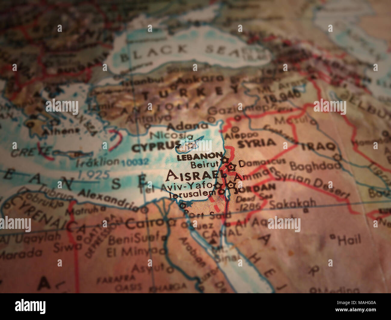 Middle east map israel in focus stock photo 178635978 alamy middle east map israel in focus gumiabroncs Gallery