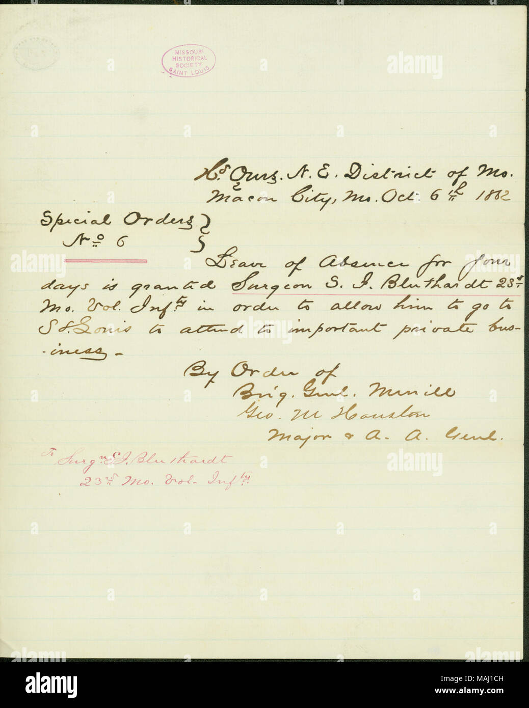 Grant theodore j bluthardt a leave of absence for four days to grant theodore j bluthardt a leave of absence for four days to attend to private business in st louis transcription hd qrs ne district of mo altavistaventures