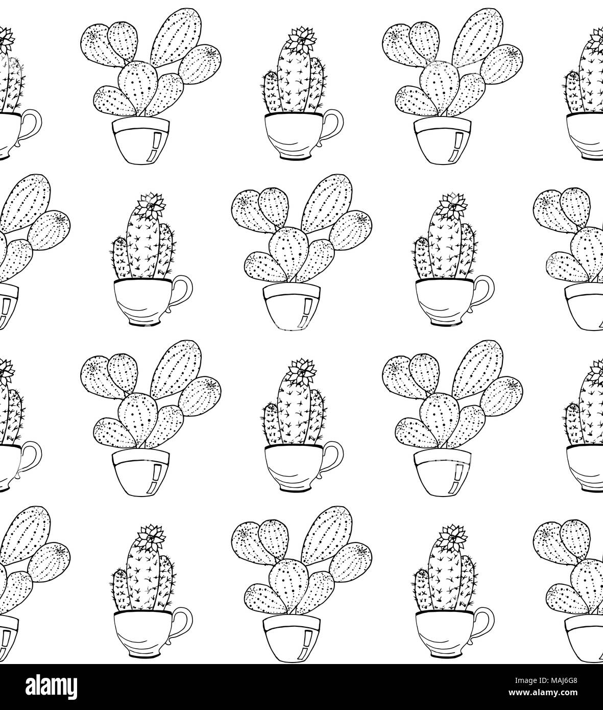 Vector cactus flower background. Seamless pattern with cactus in pot ...