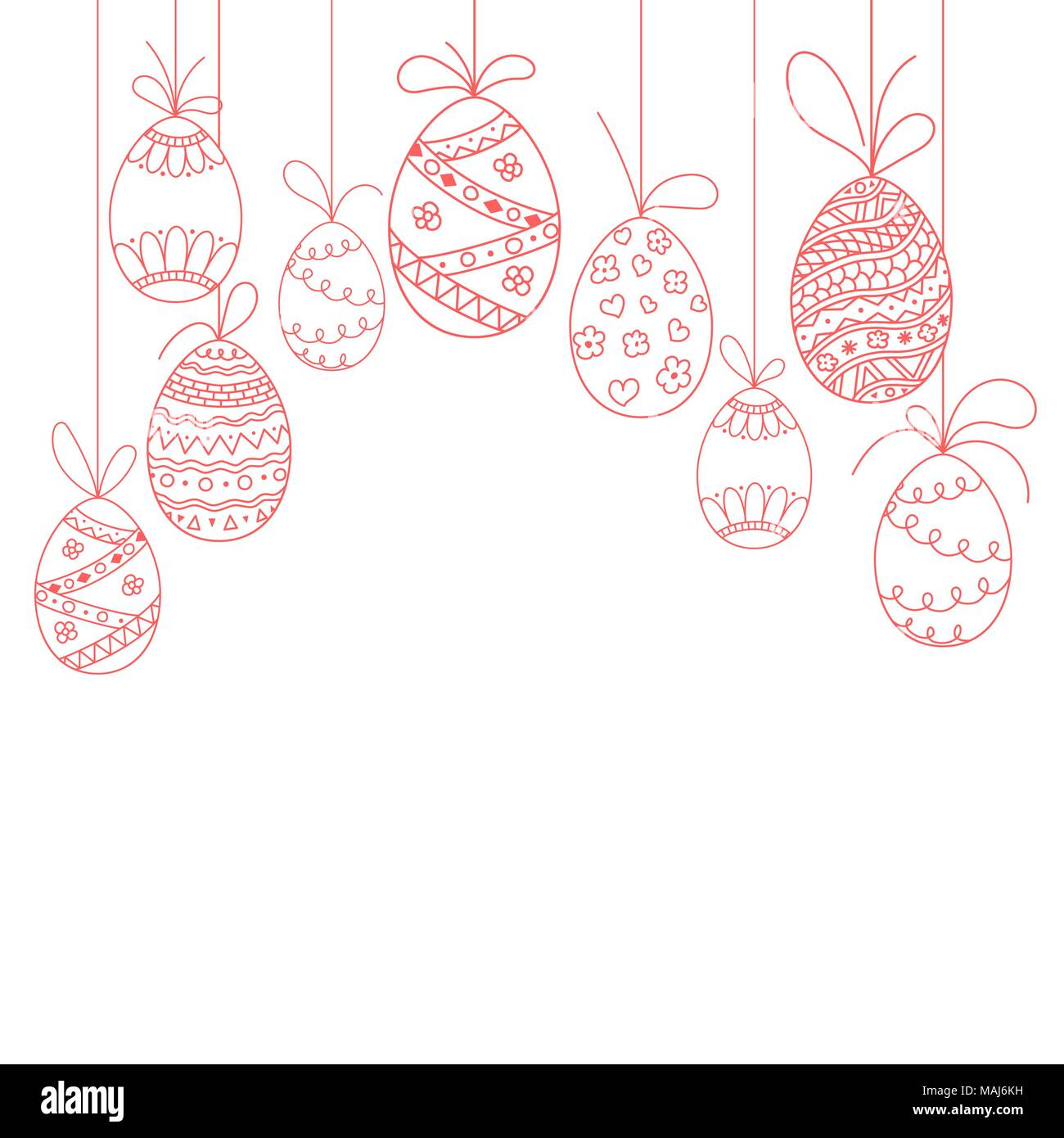 Vector Easter invitation card from three doodle Easter eggs. Hand ...