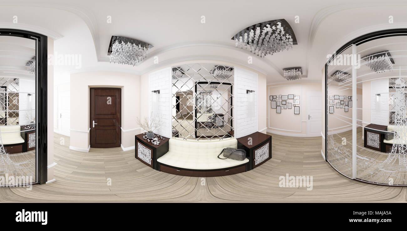 3d illustration spherical 360 degrees seamless panorama of hallway