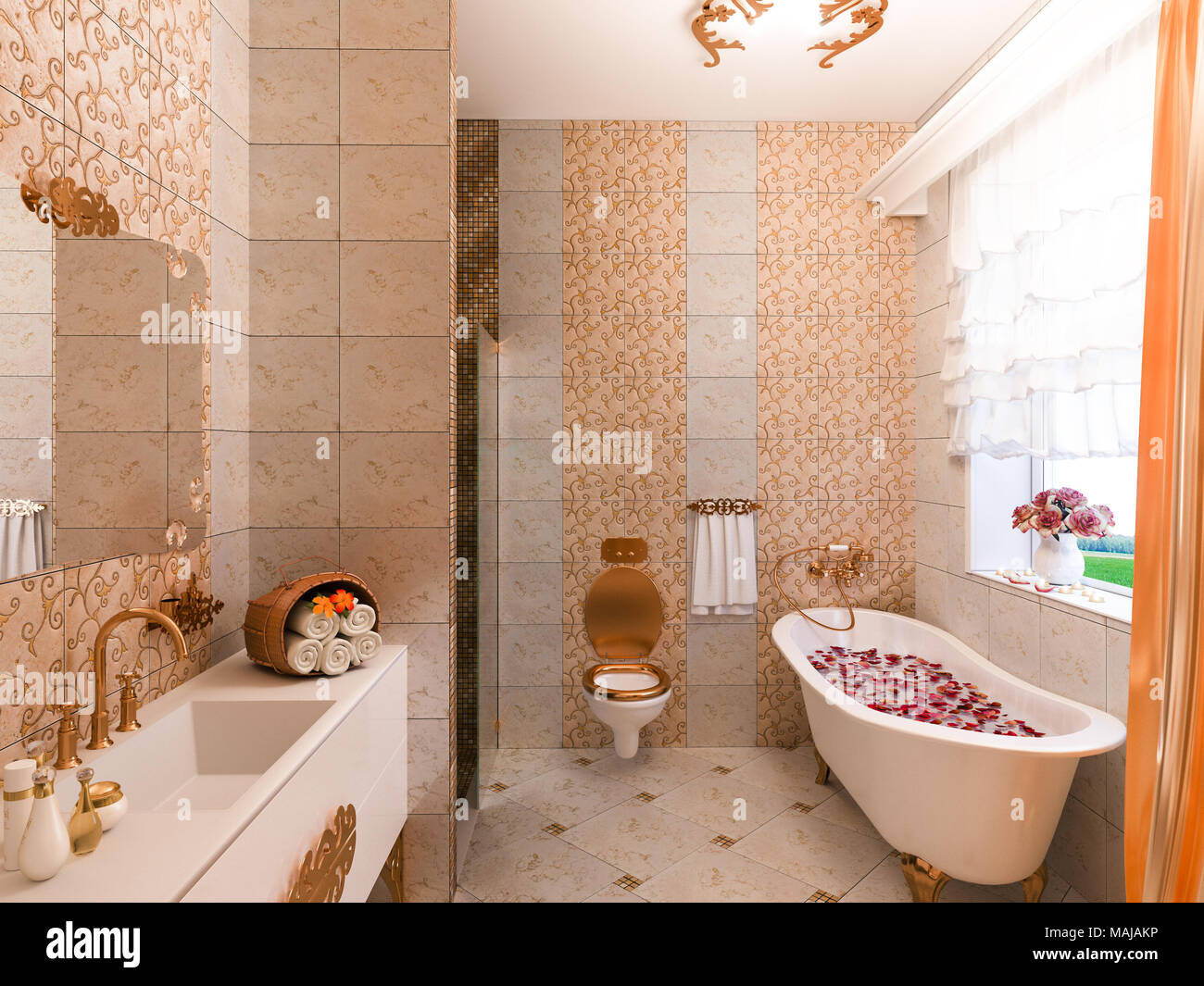 3d Illustration Of An Interior Design Of A Bathroom In A Classic Style.  Render Freestanding Bath And Shower