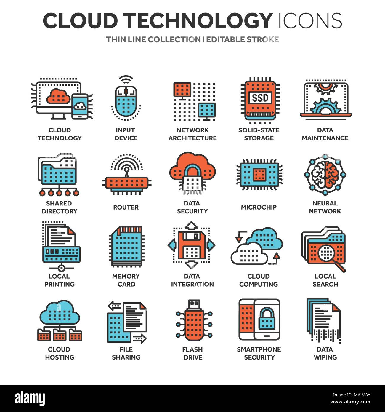 Cloud Computing Internet Technology Online Services Data Security Information Connection Thin Line Blue Web Icon Set Outline Icons Collectionvector Illustration