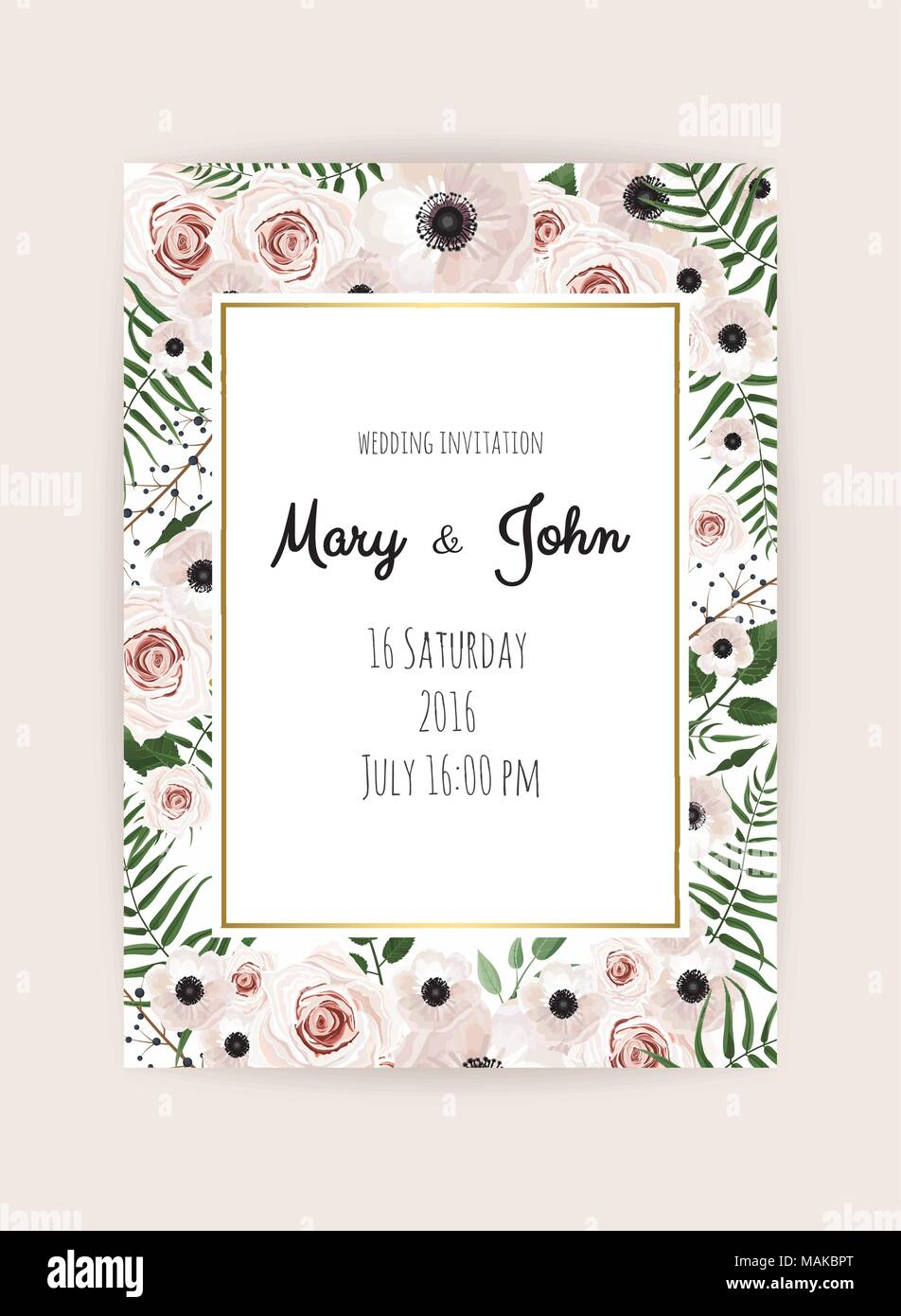 Vector invitation with handmade floral elements. Wedding invitation ...
