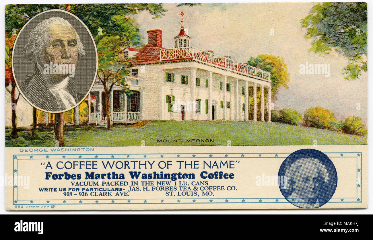 Horizontal, color image showing a view of Mount Vernon with an image ...
