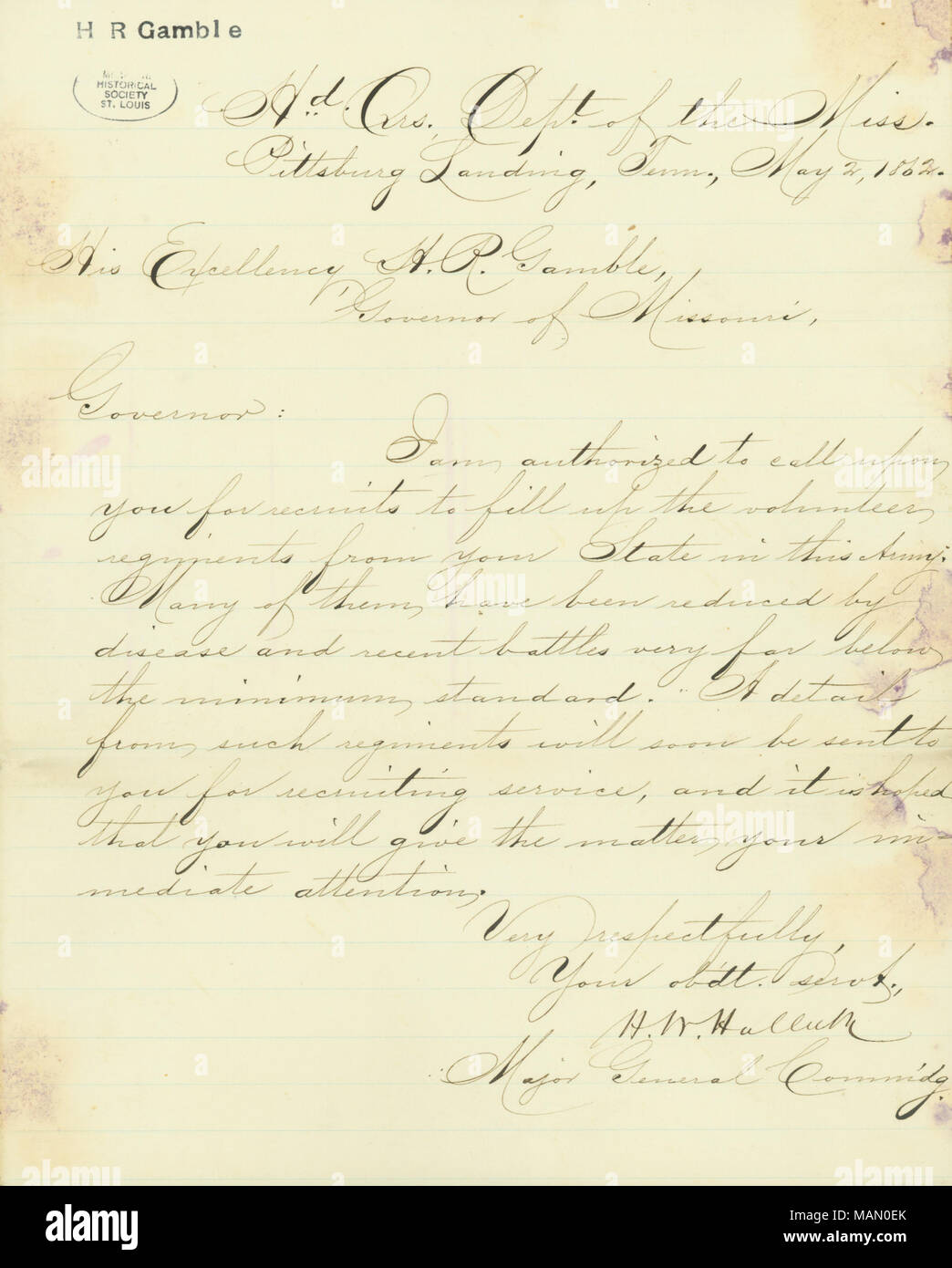 Regarding a call to recruit volunteers to fill the ranks of missouri regarding a call to recruit volunteers to fill the ranks of missouri regiments lost to disease or recent battle title letter signed hw halleck altavistaventures Choice Image