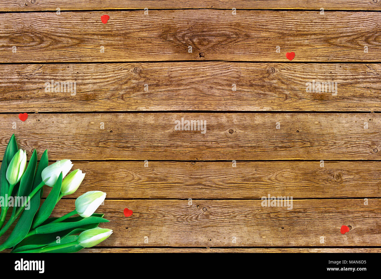 Tulips On Wooden Background With Space For Message Mothers Day