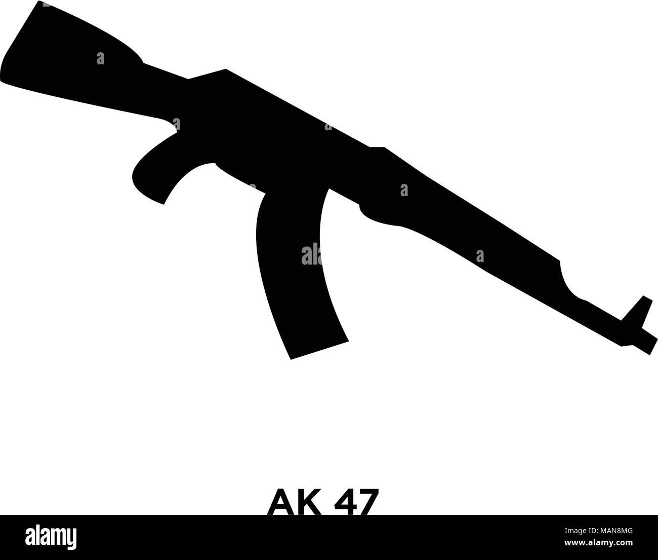ak47 silhouette on white background vector illustration stock