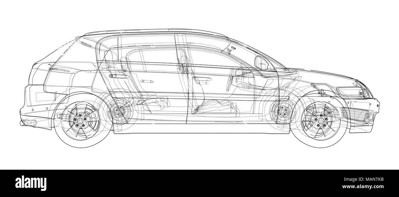 Concept car blueprint 3d illustration wire frame style stock photo concept car blueprint 3d illustration wire frame style malvernweather Choice Image