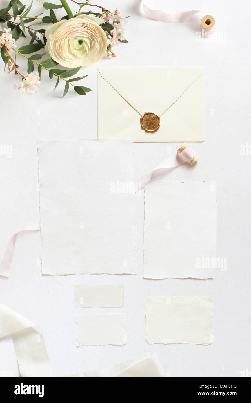 Feminine Wedding Birthday Desktop Mock Ups Blank Greeting Cards