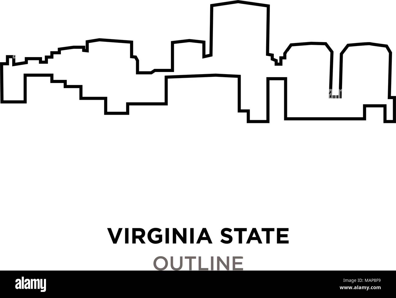 virginia state outline on white background stock vector art