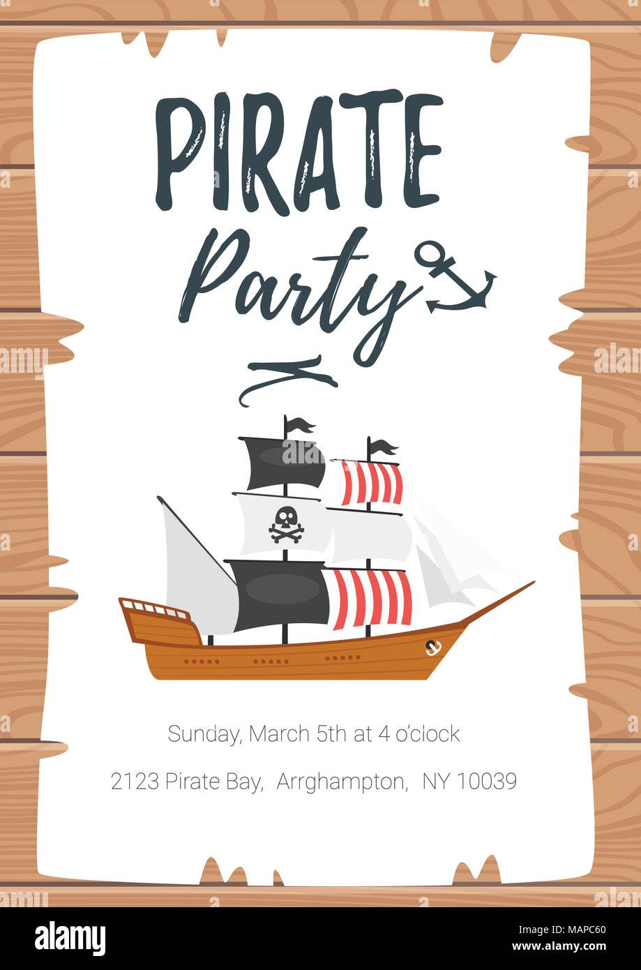 Vector cartoon style Pirate kid party poster template on torn paper ...