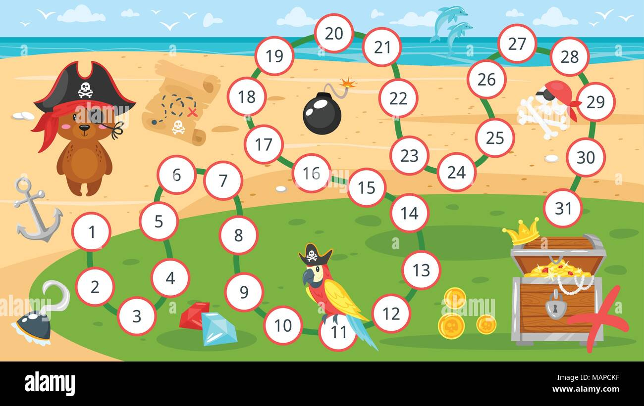 Vector Cartoon Style Illustration Of Kids Pirate Board Game Template