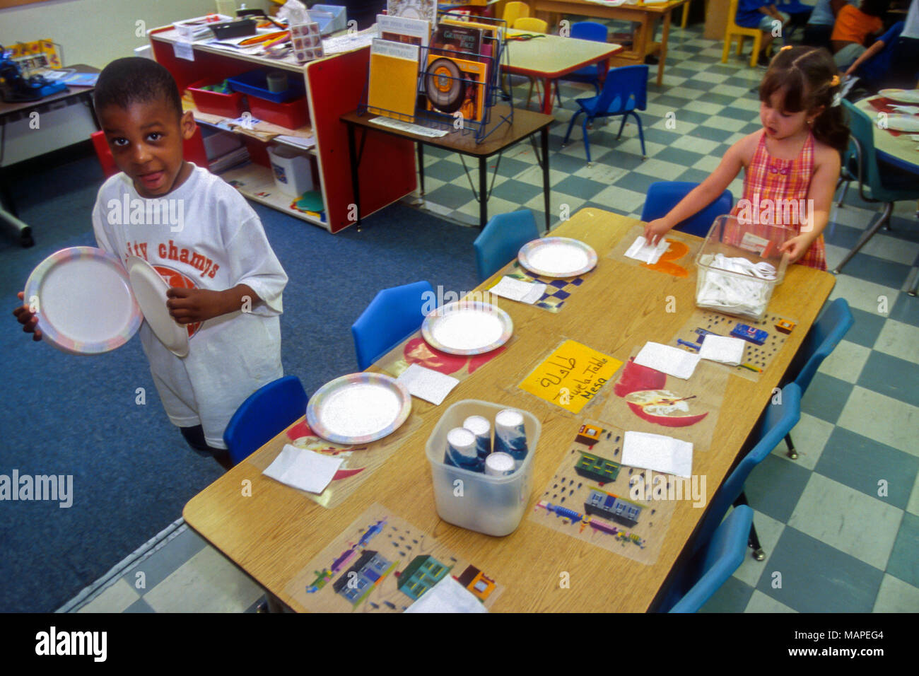 Preschool Lunch Table For Grammar Elementary And Preschool Students Prepare For Eat Lunch In School