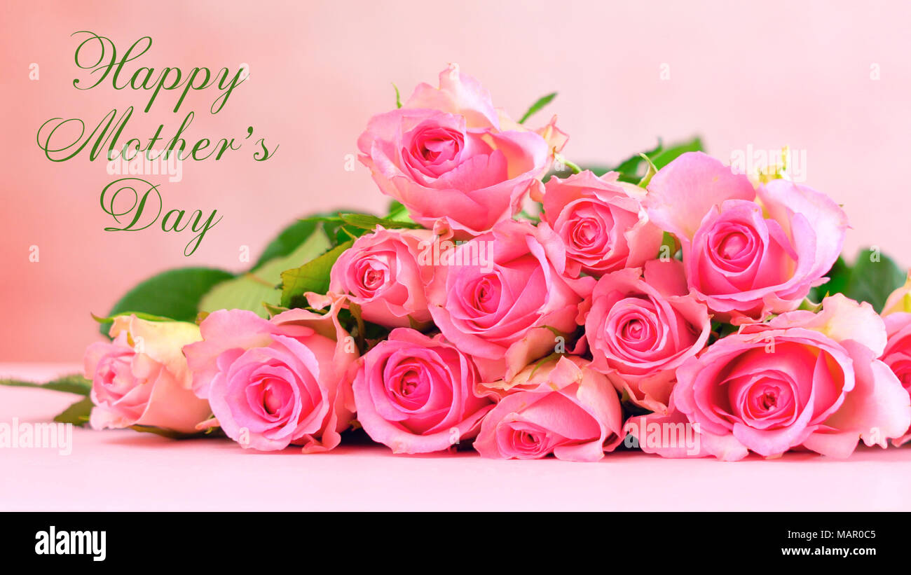 Pink Roses On Pink Wood Table Happy Mothers Day Background Closeup