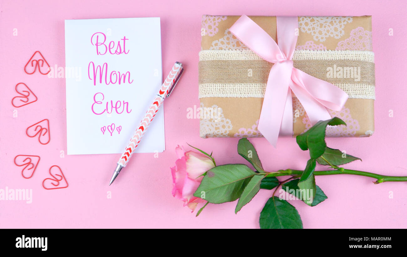 Happy Mother\'s Day overhead with rose, Best Mom Ever card and gift ...