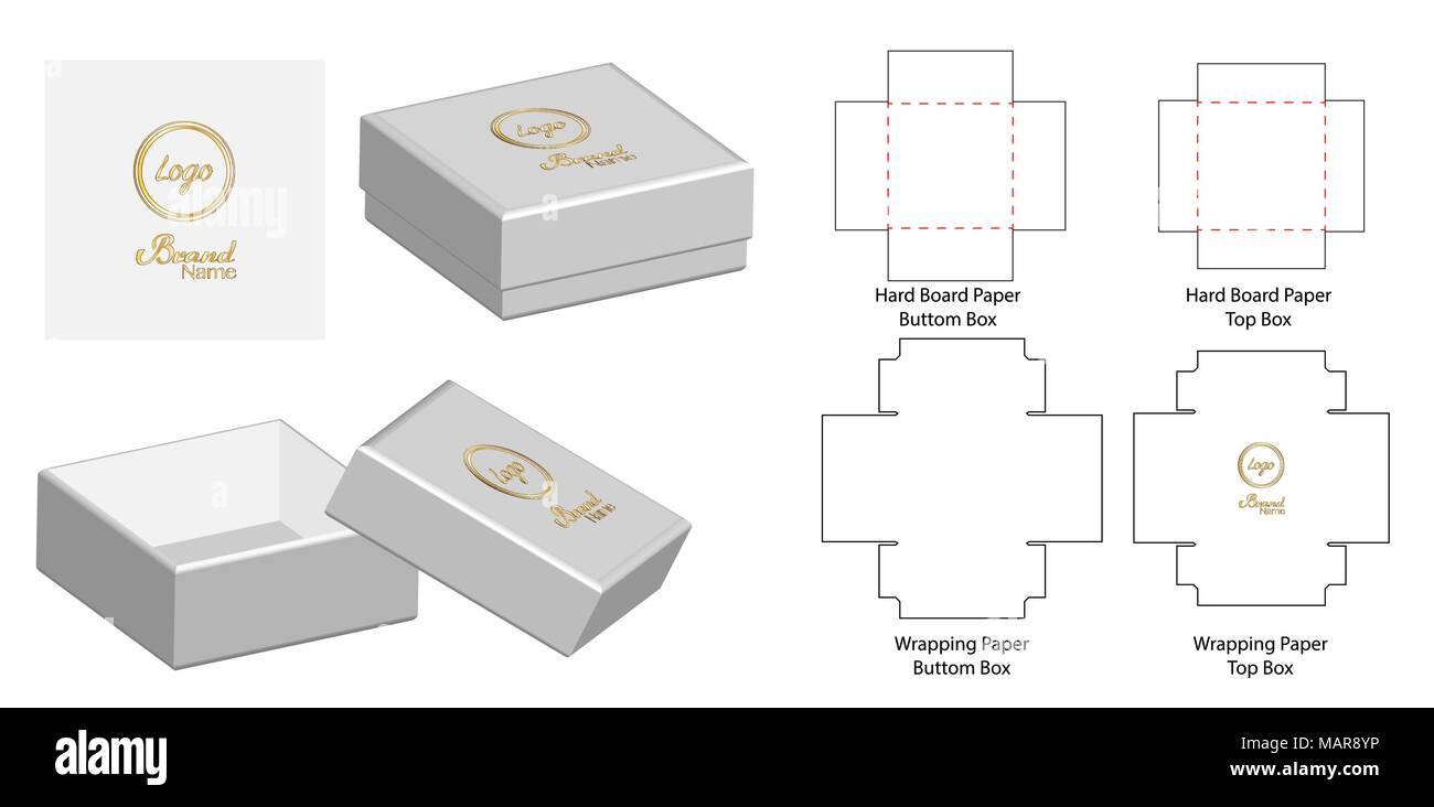 box packaging die cut template design 3d mock up vector