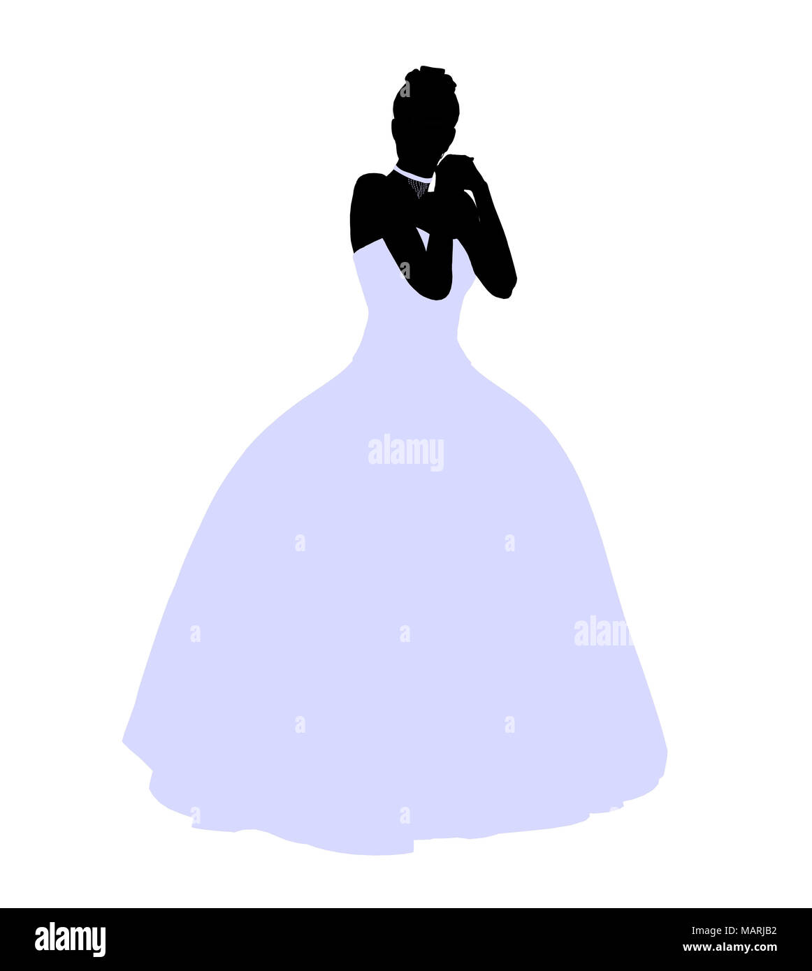 Woman in a wedding dress silhouette illustration on a white ...