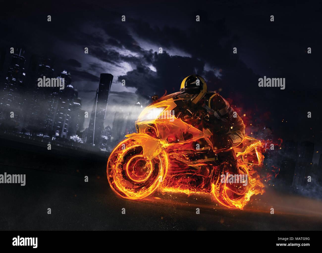 Super Sport Fire Motorbike With Skysc Rs On Background Wallpaper Motive With Fast Motorcycle In Dramatic Dark Scene