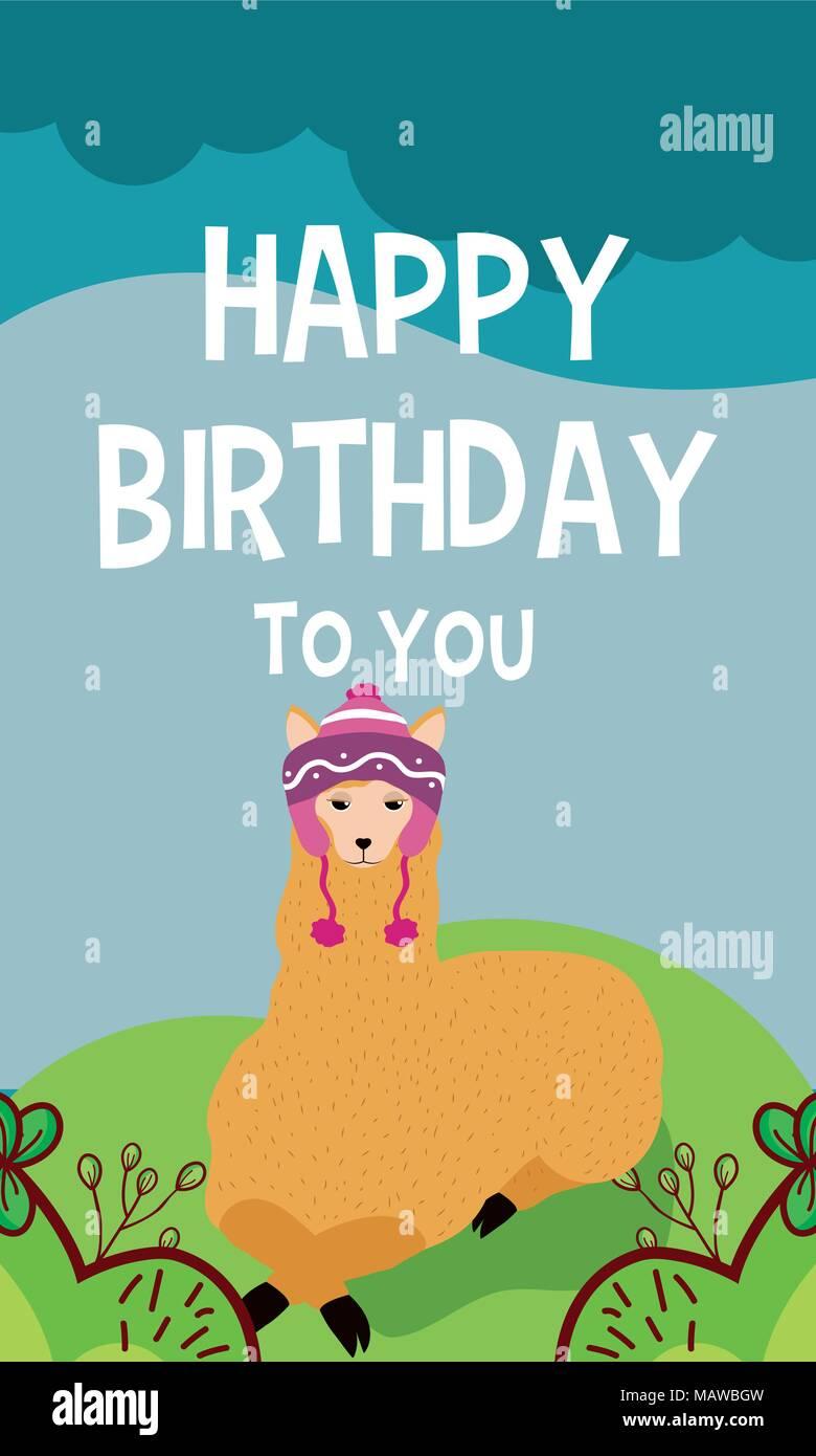 Llama Cute Animal Birthday Card Stock Vector Art Illustration