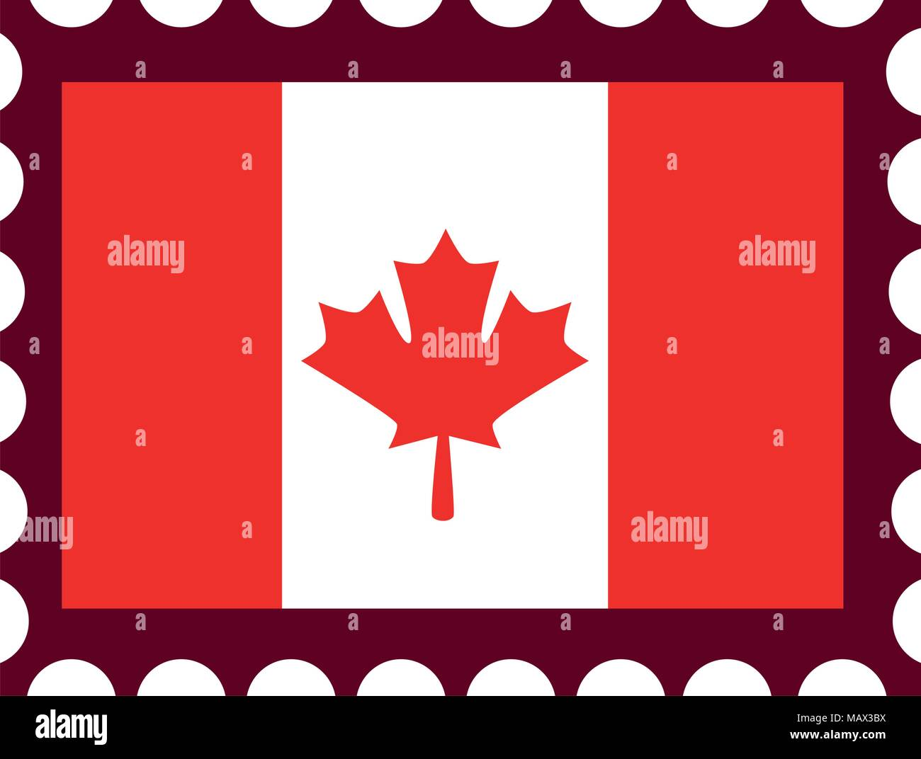 Canadian Flag With Postage Stamp Stock Vector Art Illustration