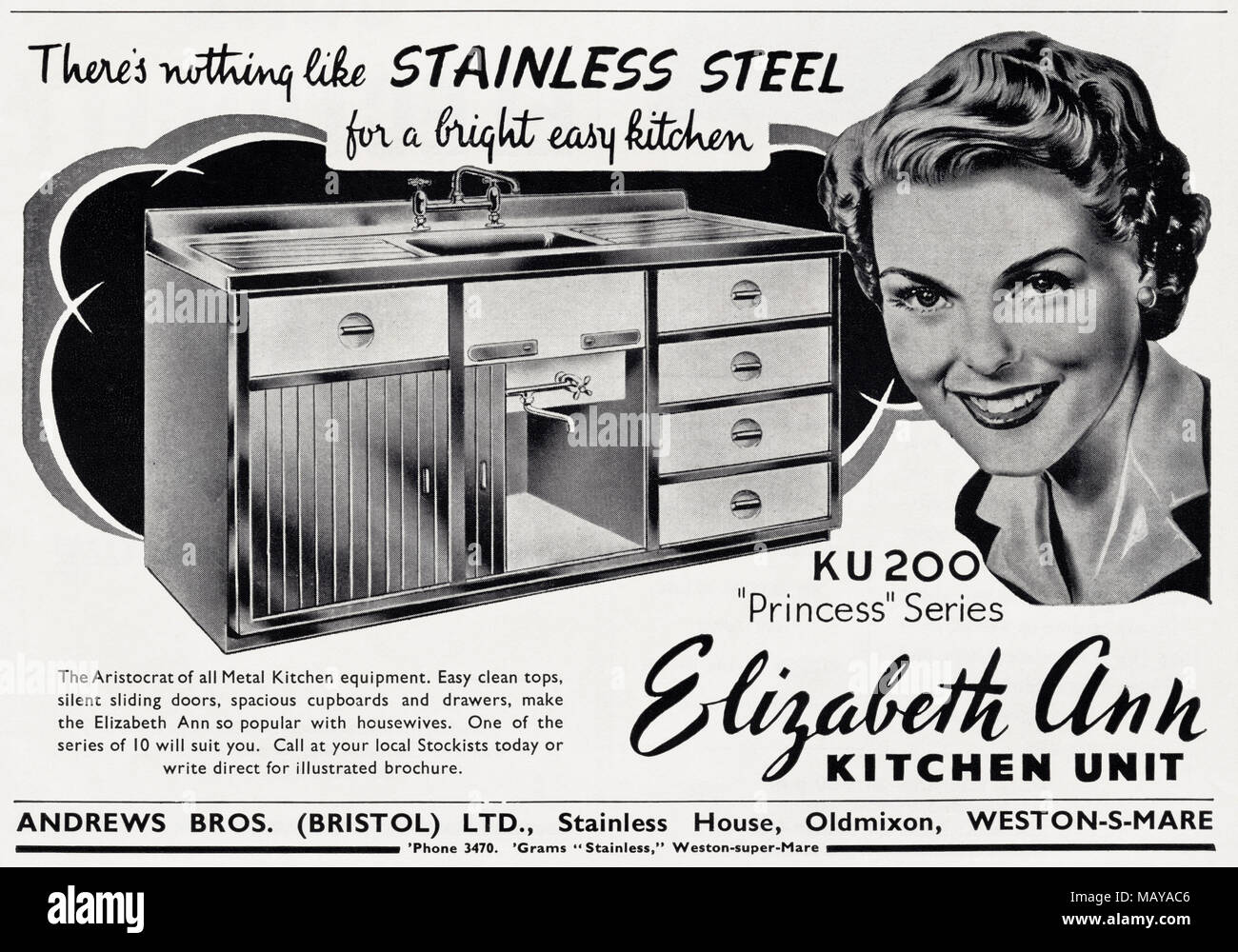 1950s Original Old Vintage Advertisement Advertising Elizabeth Ann  Stainless Steel Kitchen Units By Andrews Brothers Of Oldmixon  Weston Super Mare Somerset ...