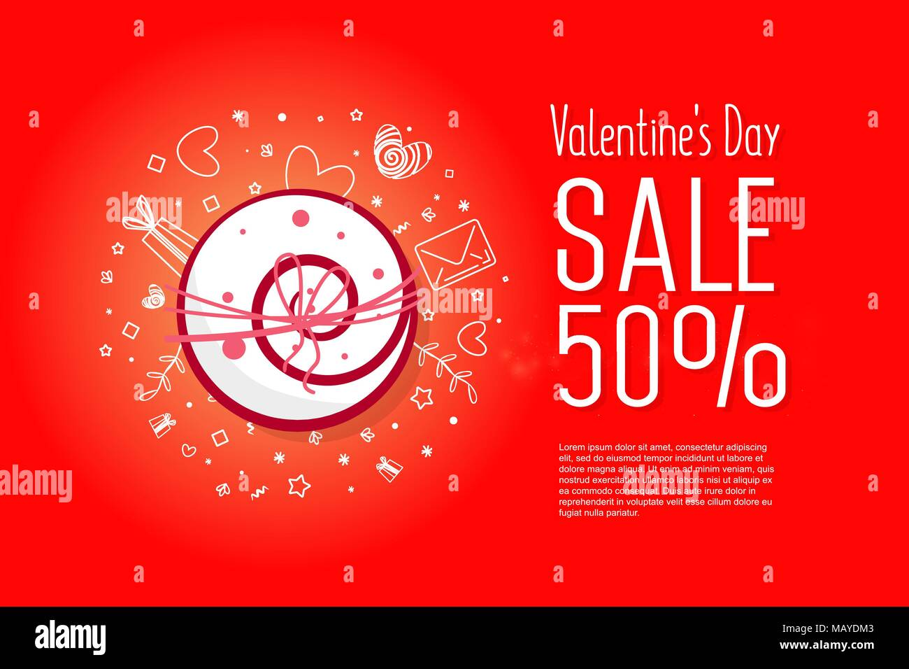 Valentine S Day Sale Celebration 50 Percent Cute Love Sale Banner