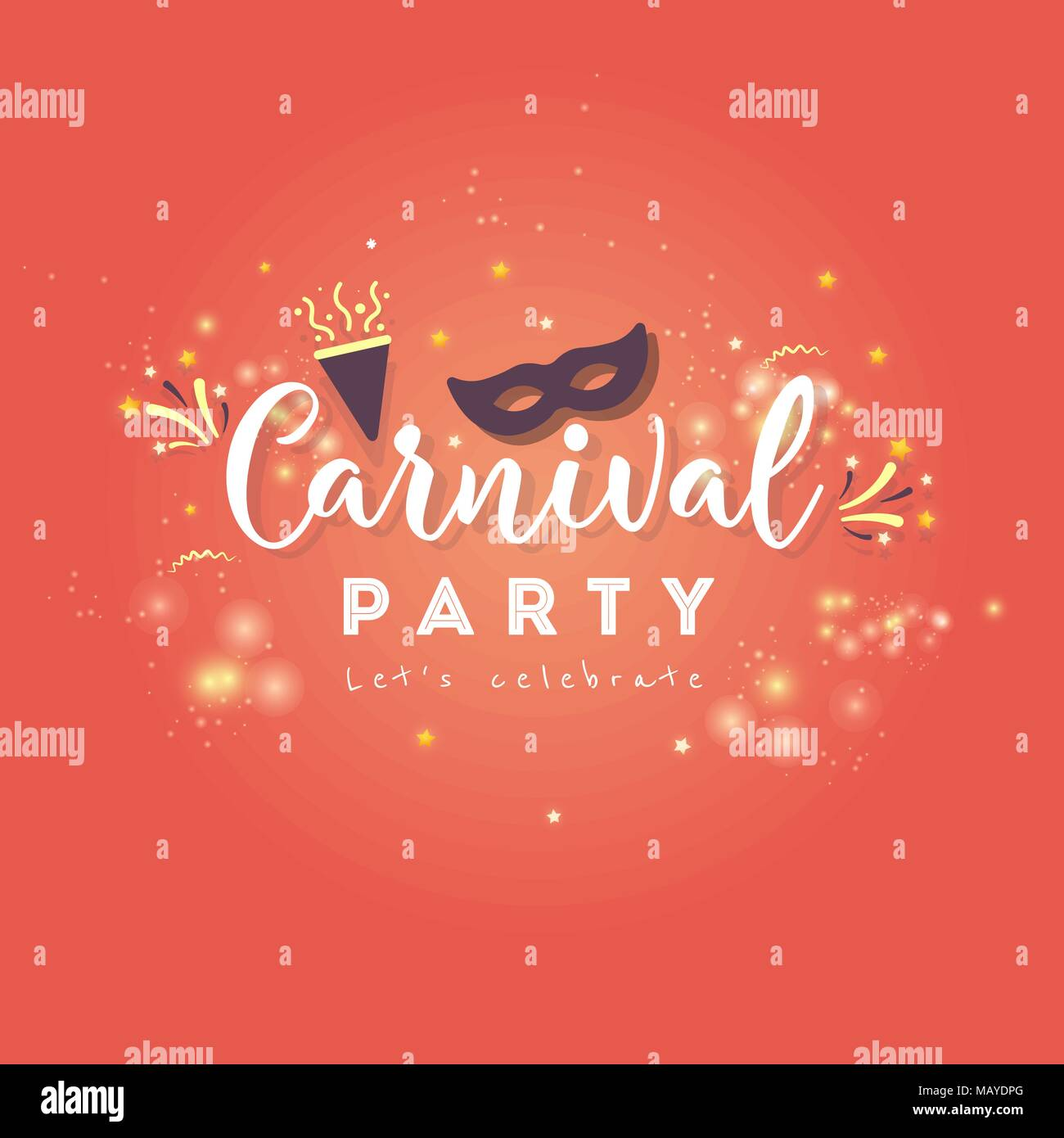 Mardi gras. Carnival Concept Banner with star and fireworks on a ...