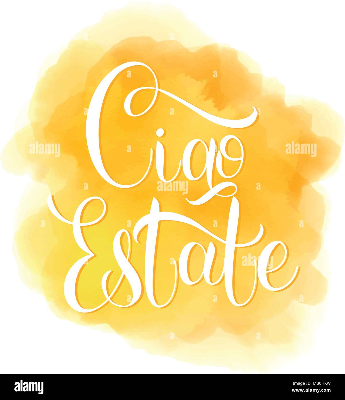 Ciao Estate Hello Summer Lettering On Italian Elements For