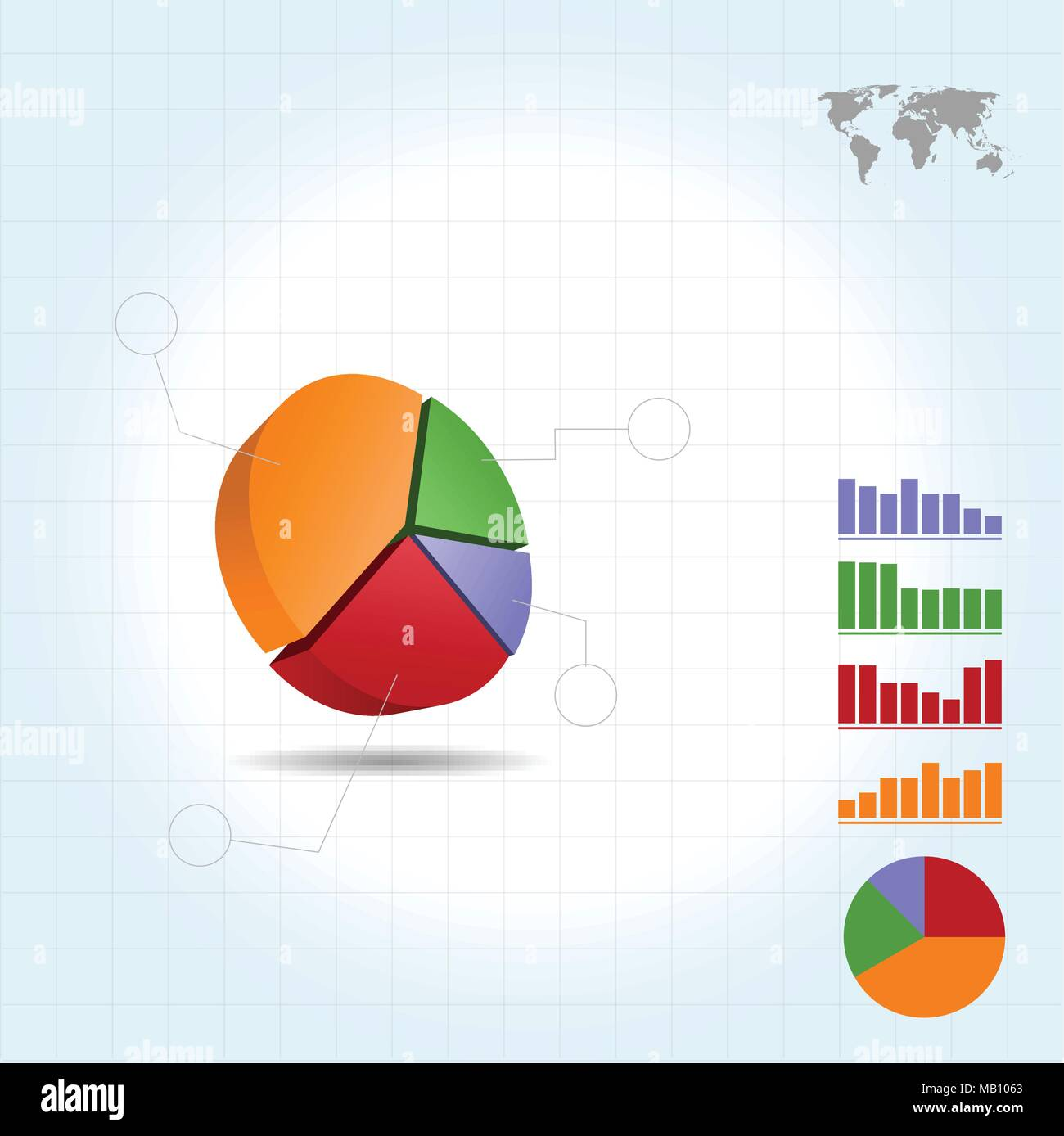 3d Pie Chart Infographic Four Points Stock Vector Art Illustration