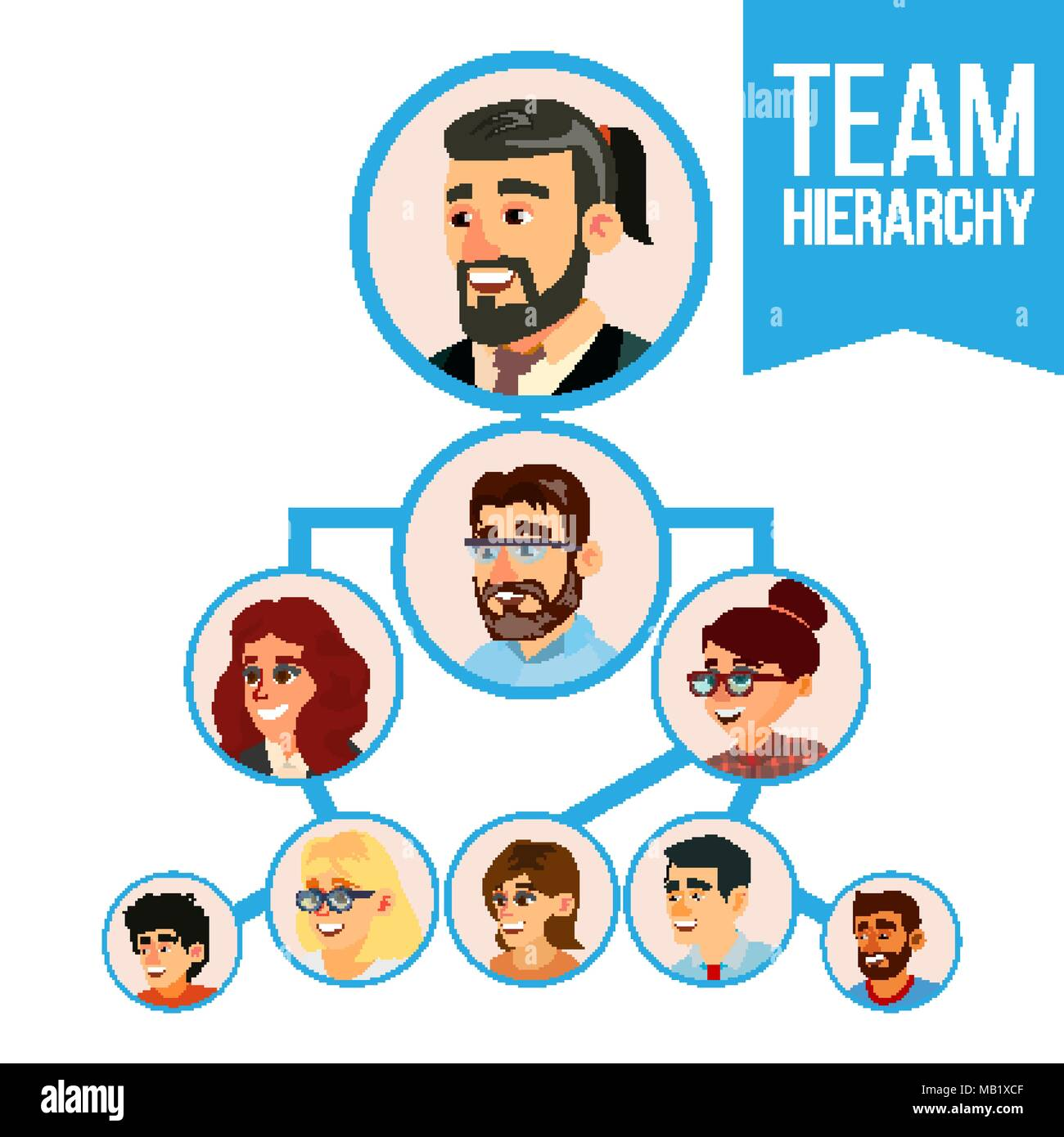 Colleagues Working Flow Chart Vector Employee Avatars Team Pyramid