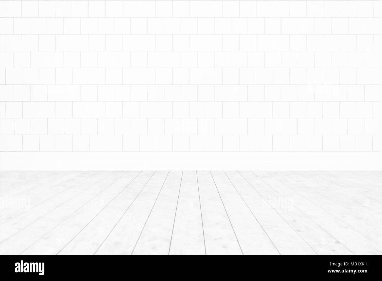 Blank Room White Tile Wall Wooden Floor Minimal Interior Background For Design3D Rendering