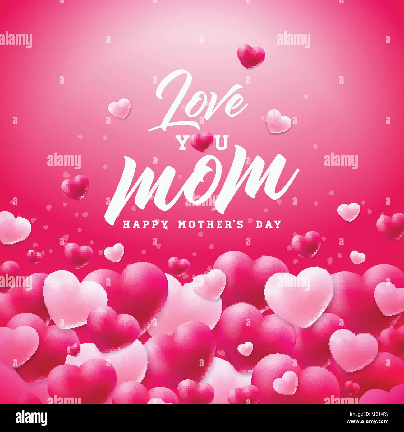 Happy mothers day greeting card design with heart and love you mom happy mothers day greeting card design with heart and love you mom typographic elements on red background vector celebration illustration template for m4hsunfo
