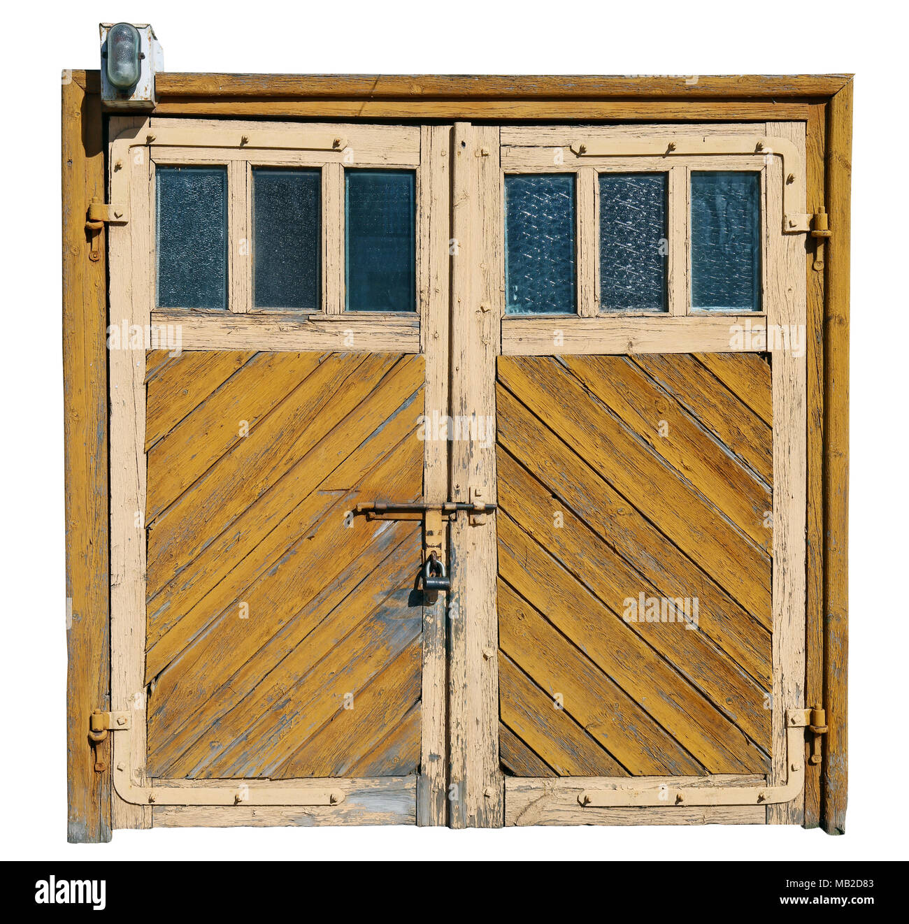 Vintage Yellow Aged Cracked Wooden Garage Doors With Glass Windows