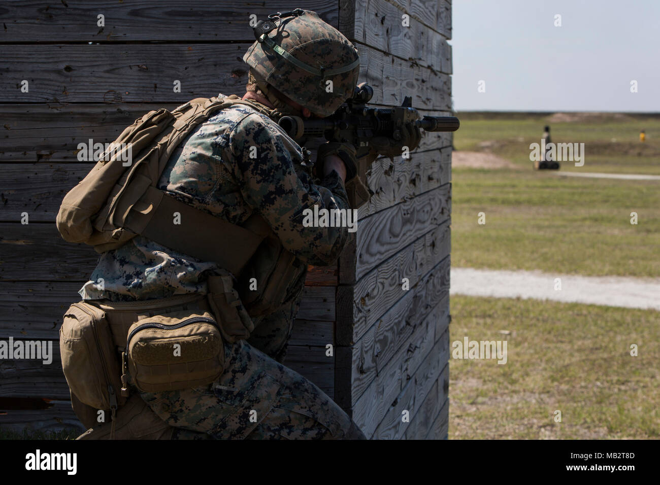 A US Marine With 1st Battalion 2nd Regiment 1 2 Division Sight In On Robotic Targets During Range Training At Camp Lejeune NC